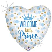 BALLON MYLAR COEUR WELCOME PRINCE - Taille : 45cm