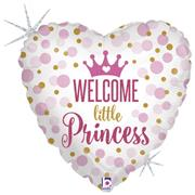 BALLON MYLAR COEUR WELCOME PRINCESSE - Taille : 45cm