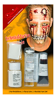 Kit Maquillage ZOMBIE : Lentilles+sang+Latex