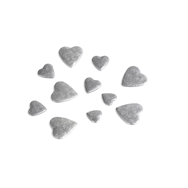 Decors de table forme coeur gris - sachet de 50 grs